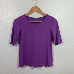 Eileen Fisher Purple Short Sleeve Top Size Small P